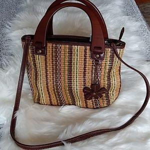 R - Relic Wooden Handle Earth tone Purse Handbag